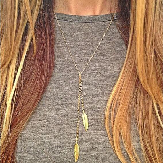 Sexy Metal Feather Tassels Necklace