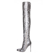 Serpentine Side Zipper Pointed Toe Stiletto High Heel Over the Knee Boots