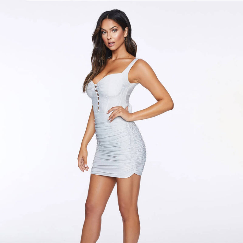 White Bodycon Ruched Spaghetti Strap Dress