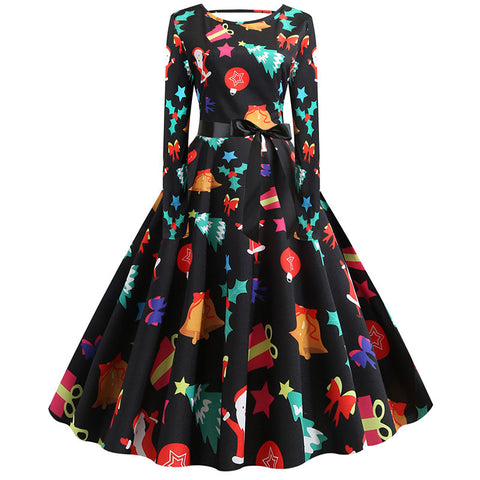 Christmas Print Cut Out Swing Dress