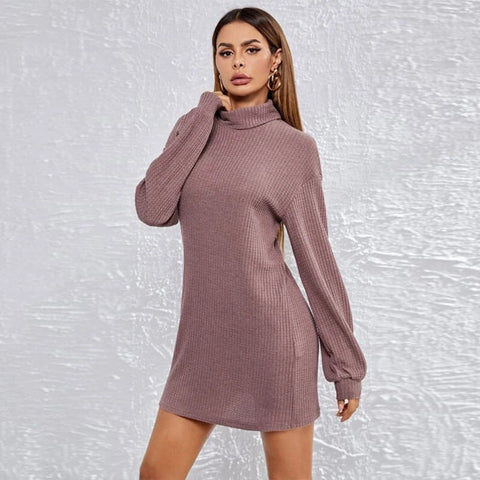 Turtleneck Waffle Knitted Short Dress