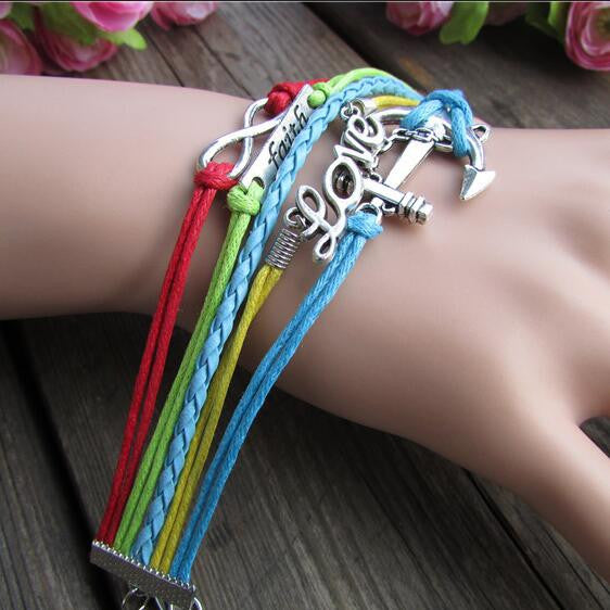 Colorful Anchor LOVE 8 Romantic Hand-Made Cord Bracelet