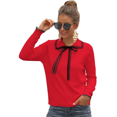 Crewneck Bow Petite Knit Sweater