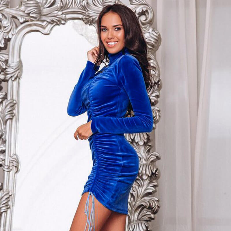 Royal Blue Bodycon Long Sleeve Velvet Turtleneck Dress