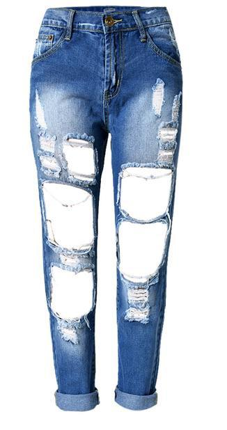 Holes Loose Solid Blue Straight 9/10 Boyfriend Jeans - Meet Yours Fashion - 10