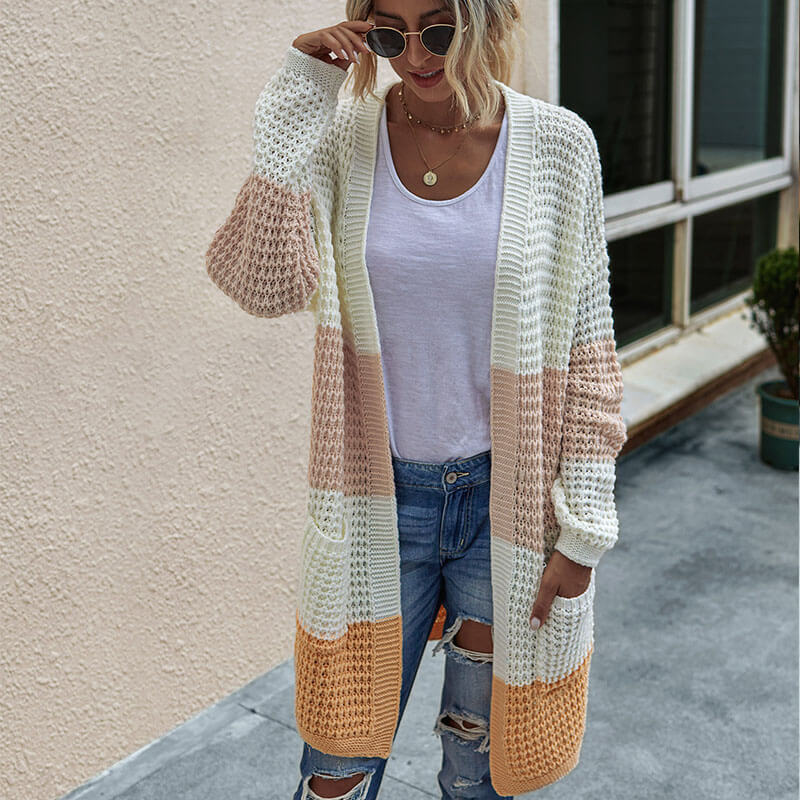 Open Front Knitted Colorblock Sweater Cardigan
