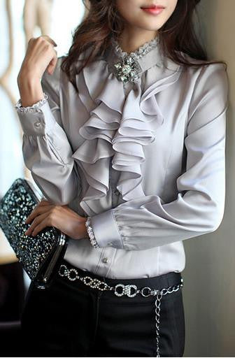Lace Patchwork Chiffon Falbala OL Long Sleeves Blouse - Meet Yours Fashion - 1