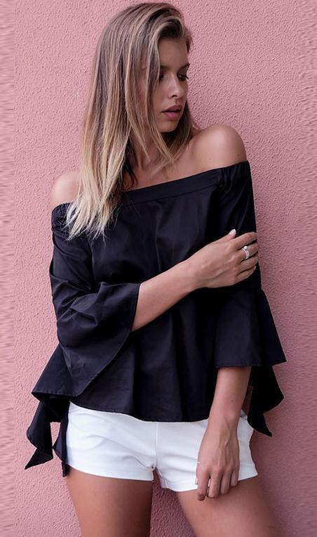 Off-shoulder Spiral 3/4 Sleeves Pure Color Blouse - Meet Yours Fashion - 1