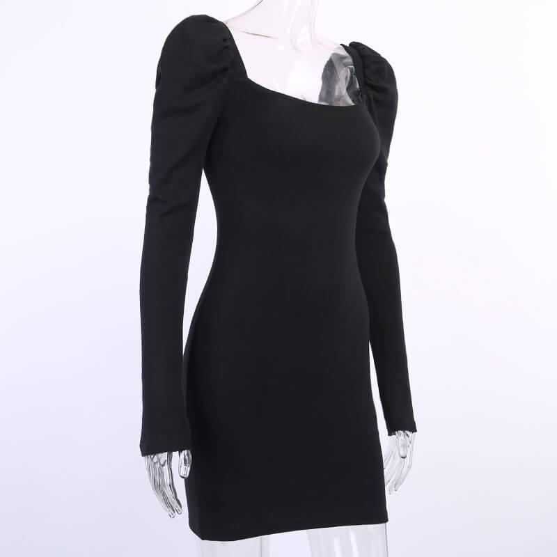 Shoulder Pads Bodycon Short Dress