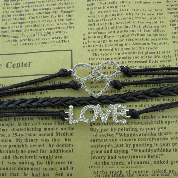 Crystal Love Heart Leather Cord Bracelet