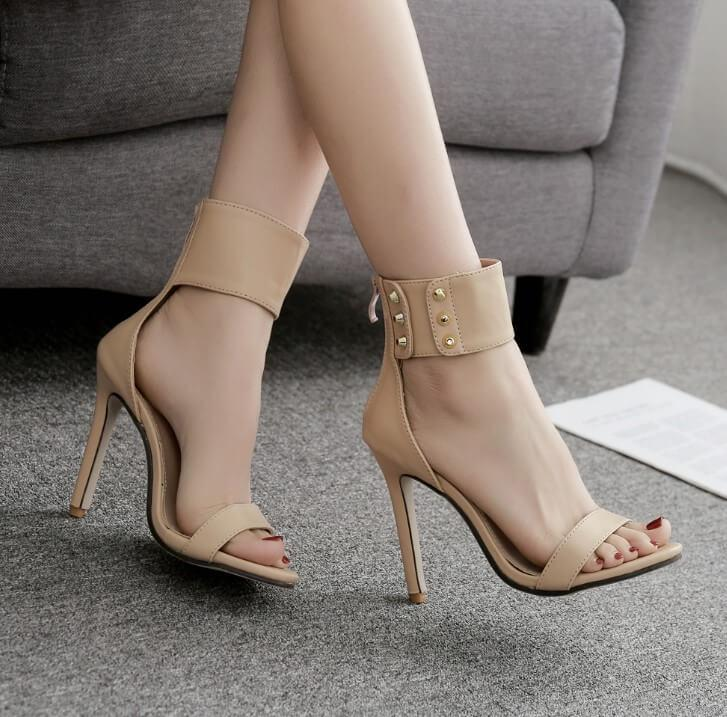 Ankle Strap Rivet Stiletto Heel Sandal