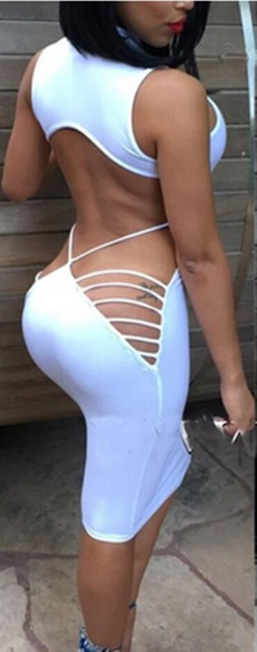 Sexy Bandage Backless Evening Party Dress