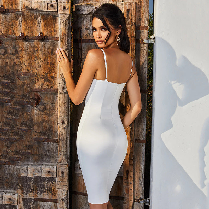 Spaghetti Strap Backless Ruched Bodycon Dress