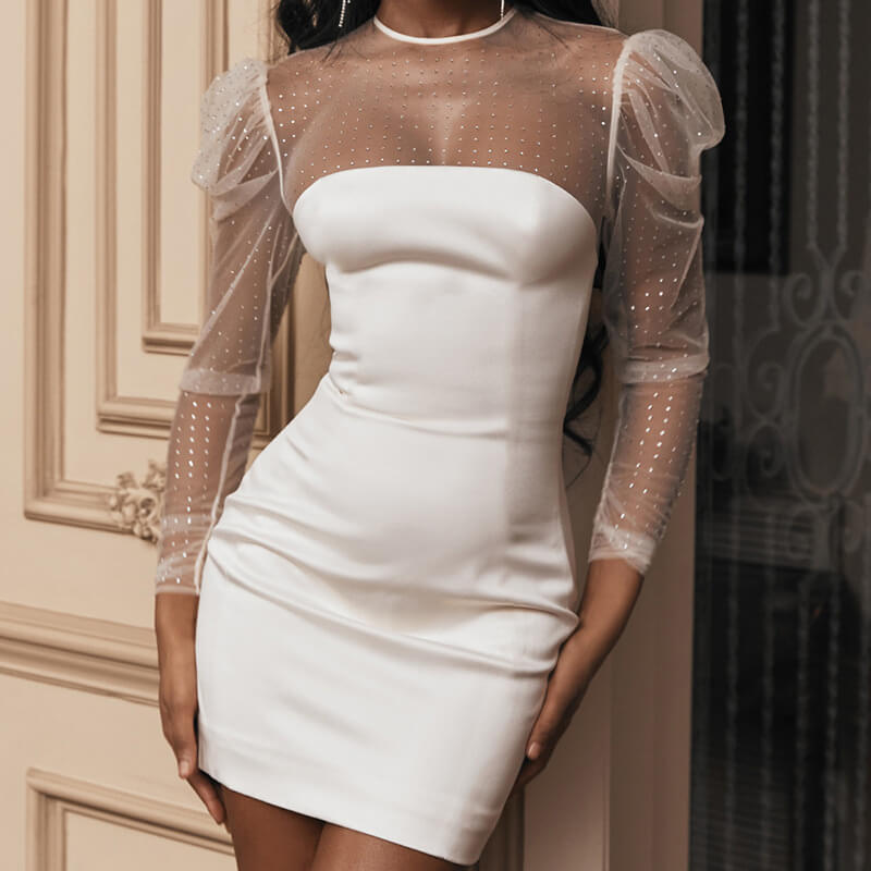 White Puff Sleeve See Through Bodycon Mini Dress