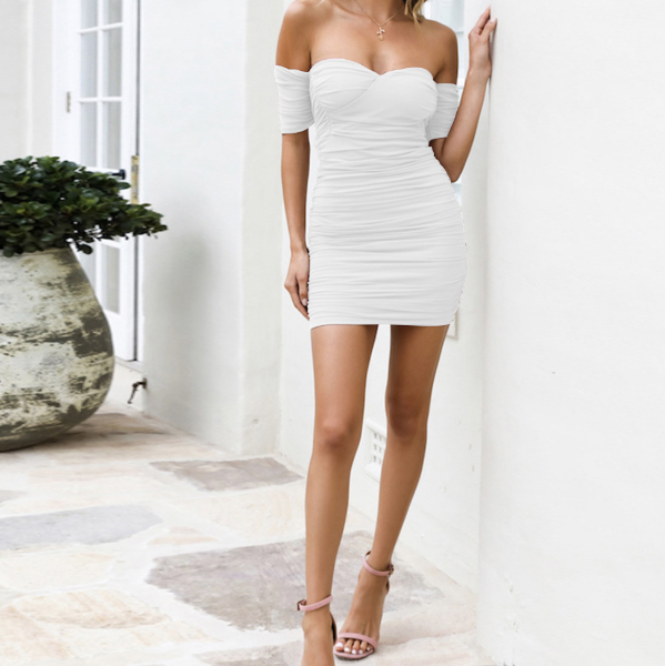 Sexy Strapless Backless Bodycon Ruched Dress