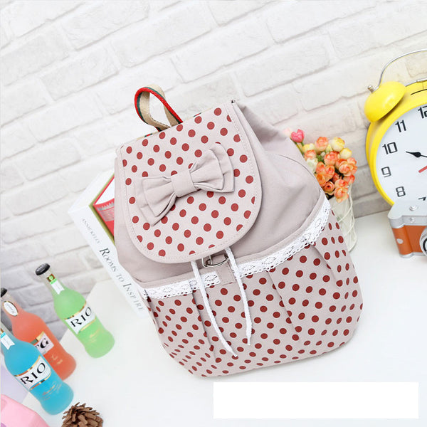 Lovely Bowknot Polka Dot Canvas Bucket Drawstring School Backpack