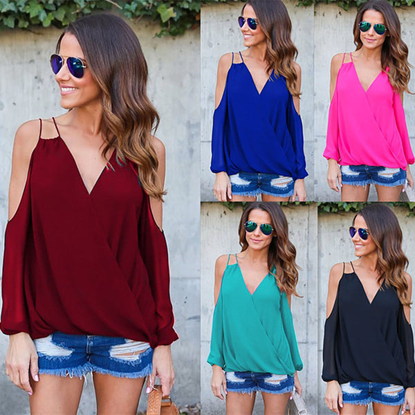 Bear Shoulder Long Sleeves V-neck Loose Blouse