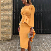 Elegance Crossed Two Pieces Bodycon Dress
