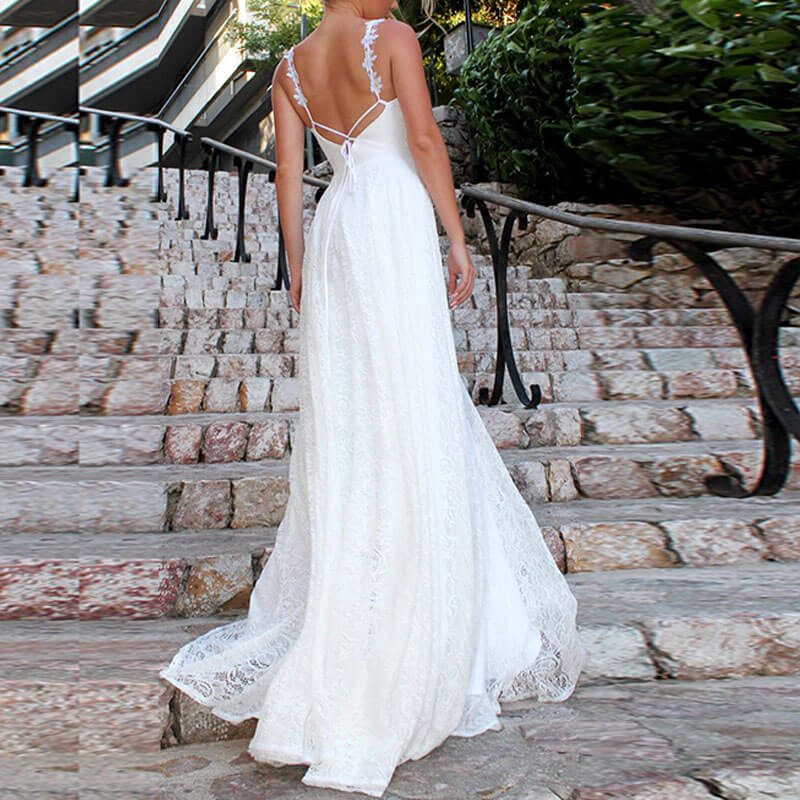 White Lace Sling Backless Dress