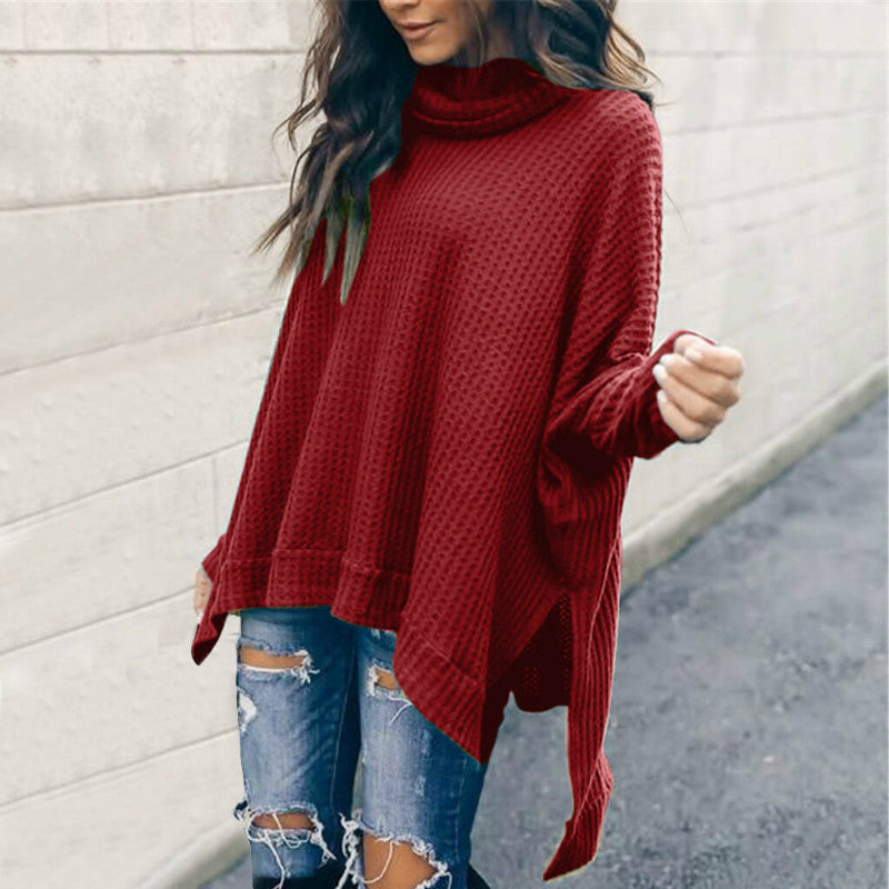 Pile Collar Low High Sweater