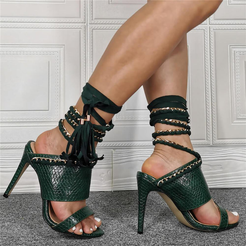 Dark Green PU Open Toe Strap High Heel Sandals