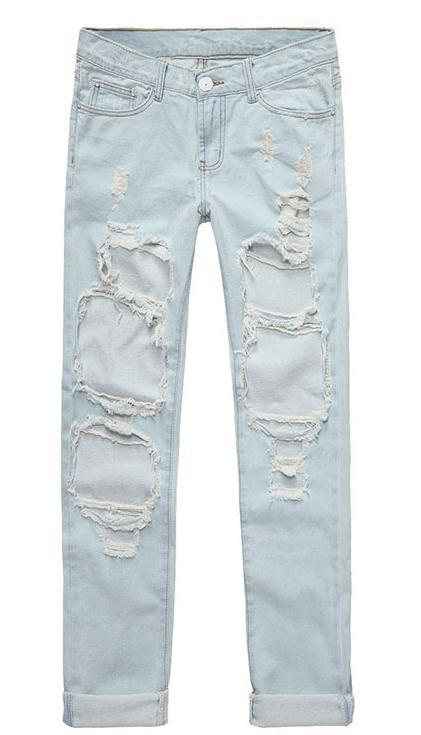 Holes Loose Solid Blue Straight 9/10 Boyfriend Jeans - Meet Yours Fashion - 8