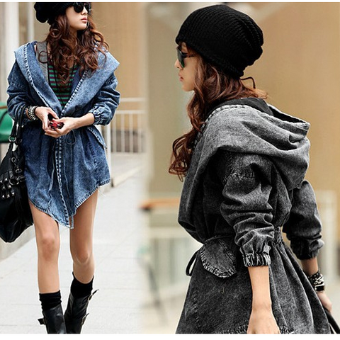Hooded Irregular Belt Casual Mid-length Long Sleeves Denim Coat - Meet Yours Fashion - 2