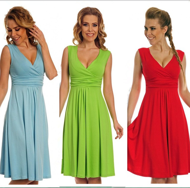 Fashion Candy Color Empire V-neck Knee-length Dress - Meet Yours Fashion - 1