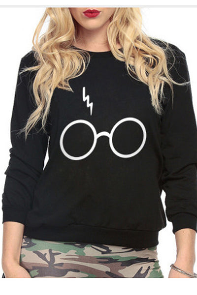 Glasses Print Round Collar Long Sleeves Sweatshirt