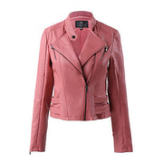 Lapel Stand Collar Zipper Slim Crop Jacket - Meet Yours Fashion - 2