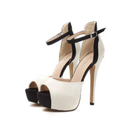 Nude Peep Toe Ankle Strap Stiletto High Heels Sandals - MeetYoursFashion - 4