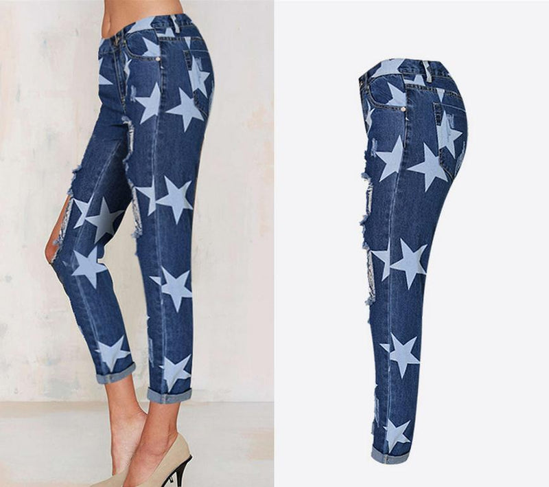 Holes Star Printed Beggar Casual Straight Jeans - Meet Yours Fashion - 4