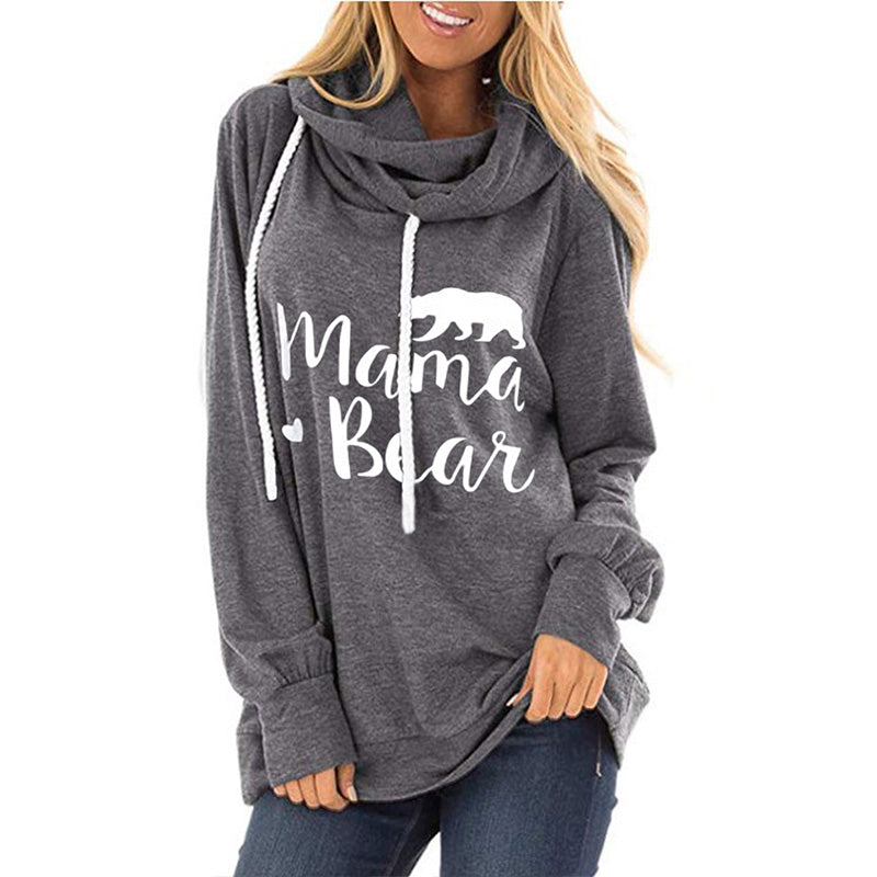 Pullover Drawstring Letter Print Loose Scarf Hoodies