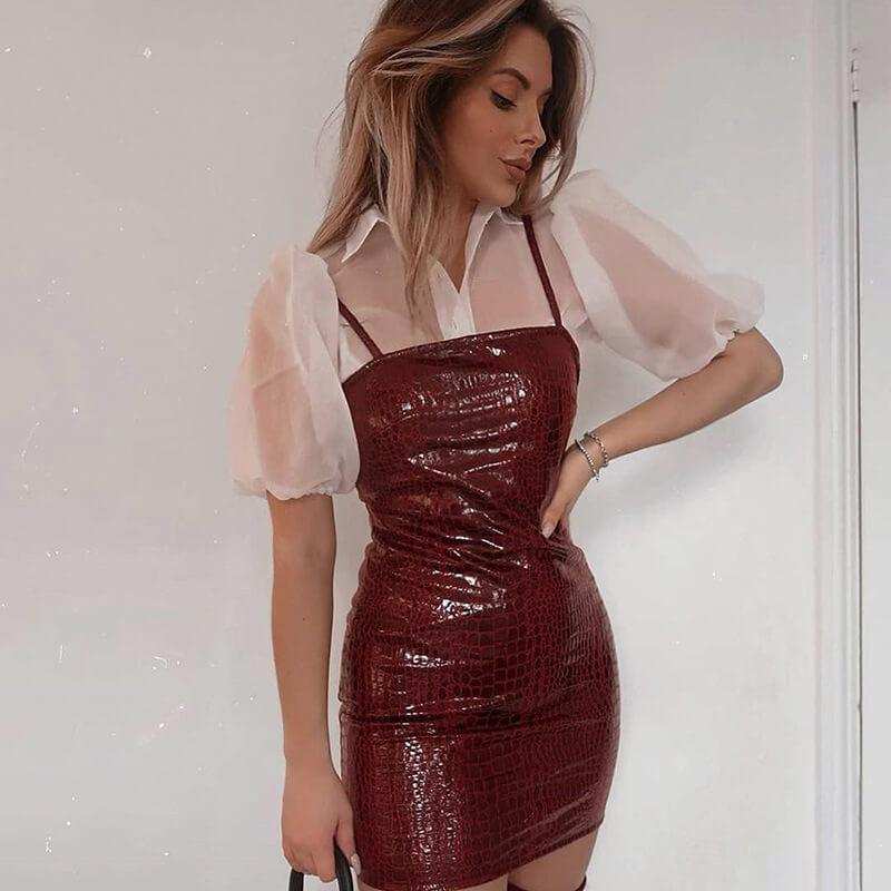 Alligator PU Sling Bodycon Dress