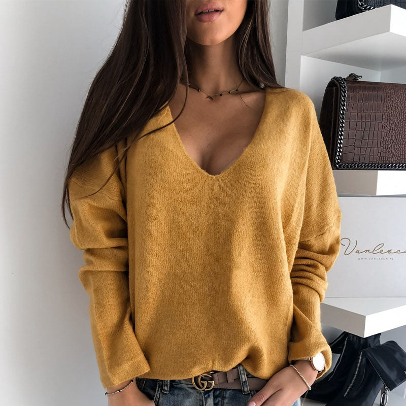 V Neck Thin Knitted Top