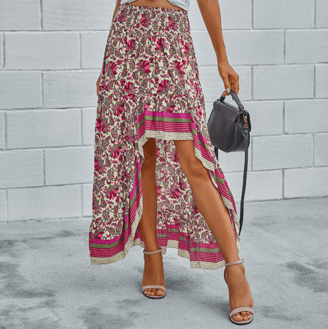 Sexy Loose Floral High Low Irregular Dresses