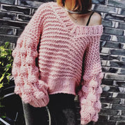 V Neck Balloon Sleeve Pullover Sweater