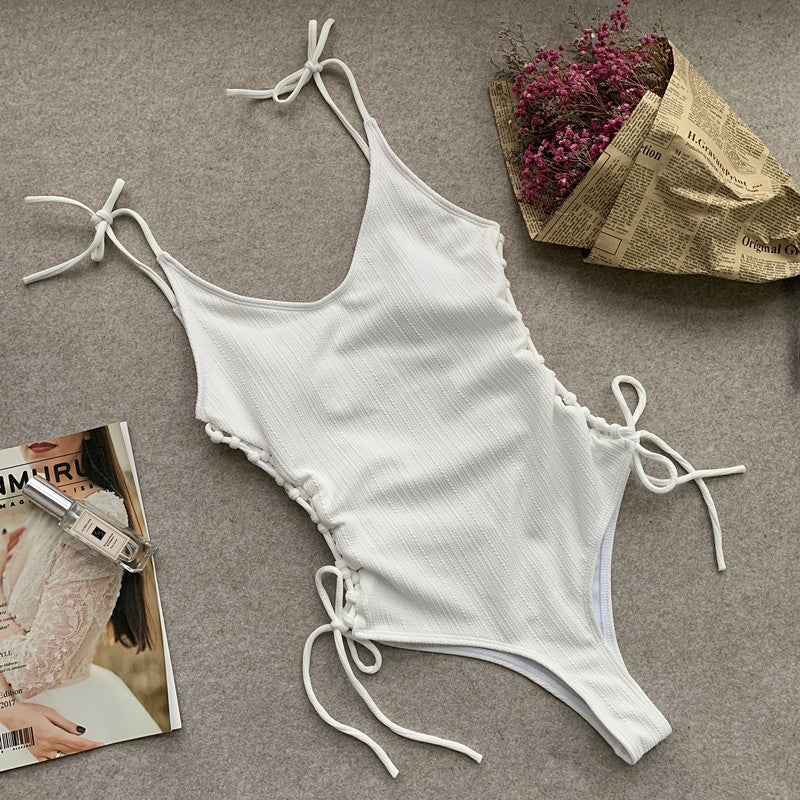 Plain Strappy Low Back High Cut Swimsuit