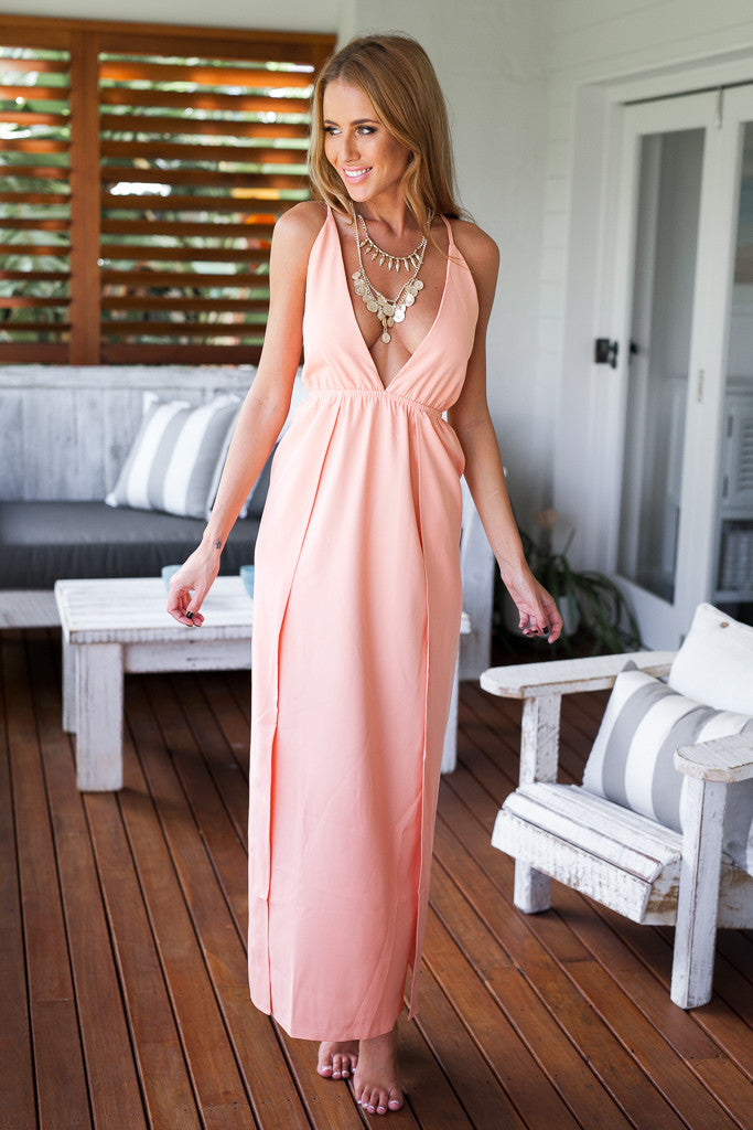 Back Cross Deep V-neck Pure Color Long Party Dress