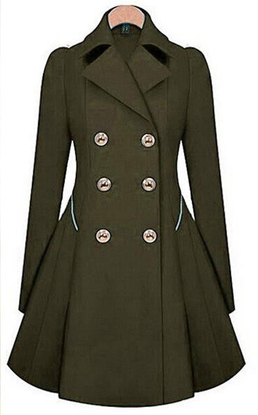 Double Button Turn-down collar Slim Plus Size Coat - Meet Yours Fashion - 7
