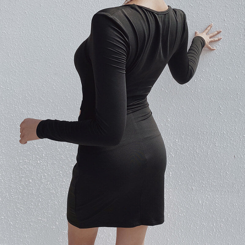 Square Neck Cut Out Bodycon Dress