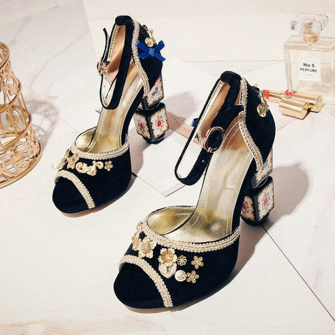 Party Suede Peep Toe Embellished Chunky Heel Sandals