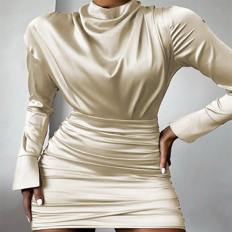 Apricot Bodycon Long Sleeve Ruched Mini Dress
