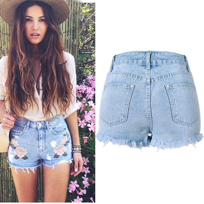 Slim High Waist Rough Edges Tassel 3D Embroidery Plus Size Shorts - Meet Yours Fashion - 3