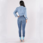 High Waist Stretch Solid Skinny Denim Pants