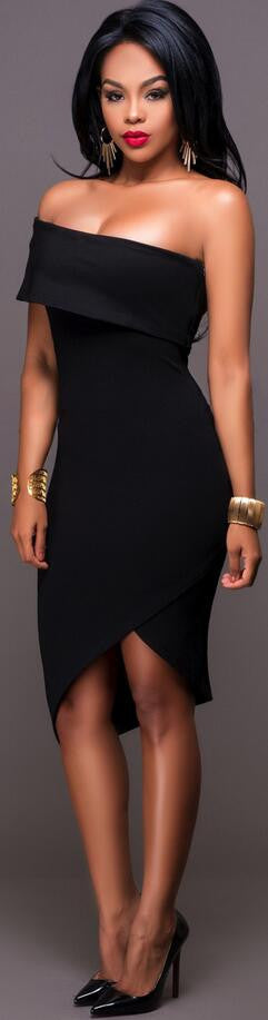 Irregular One Shoulder Strapless Bodycon Dress