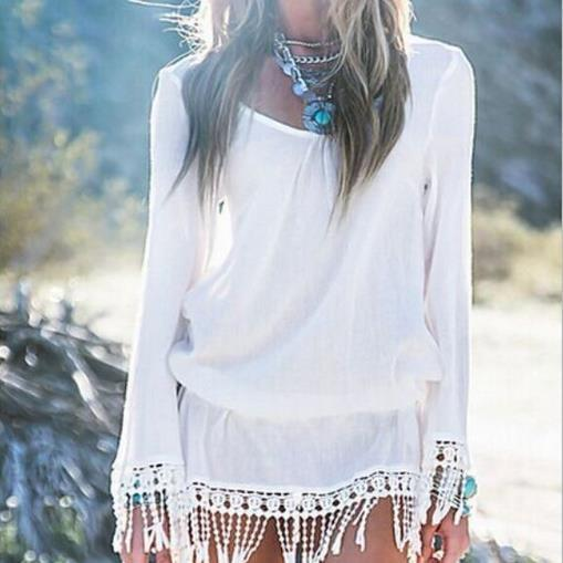 Sexy Long Sleeves V-neck Fringe Beach Cover Up Dress - Meet Yours Fashion - 2