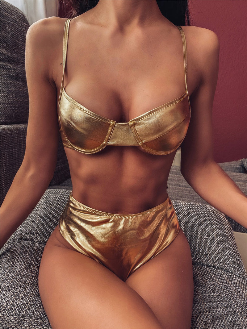 Hot Gold Plain High Rise Thong Bottom Bikinis