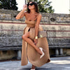 Khaki Strapless Backless High Waist Maxi Dress