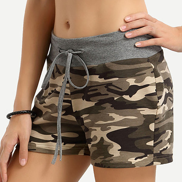 Camouflage High Waist Bandage Drawstring Slim Shorts